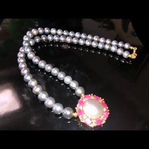 Alluring Genuine Pearl Ruby Necklace